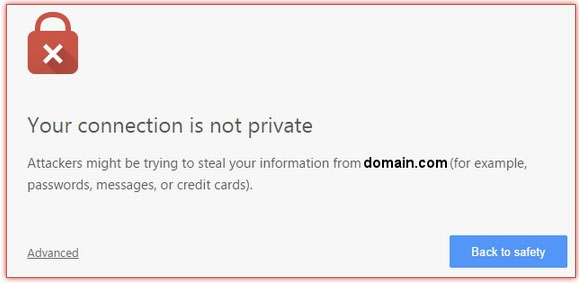 Warning visitors would see if your website is not secure on HTTPS